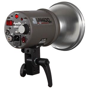 Dyna-Lite Uni Jr 320 Watt Monolight   Includes: Uni Jr AC/DC monolight, Jackrabbit, battery, stand & umbrella.  Daily Rental $25.00 Weekly Rental $100.00