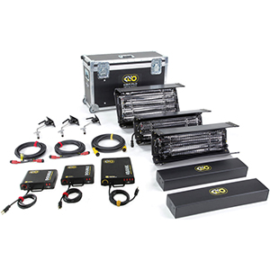 Kino Flo 3 Unit Interview Kit Rental   Includes: One 2 ft. 4-Bank Fixture & Two 2 ft. Double Fixtures. Available in Tungsten or Daylight.  Daily Rental $100.00 Weekly Rental $400.00