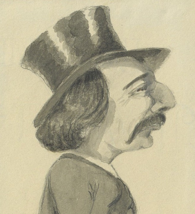 "Contemporary caricature of Jules Amédée Barbey d'Aurevilly by ""L'Héritier"" (Romain Thomas)"