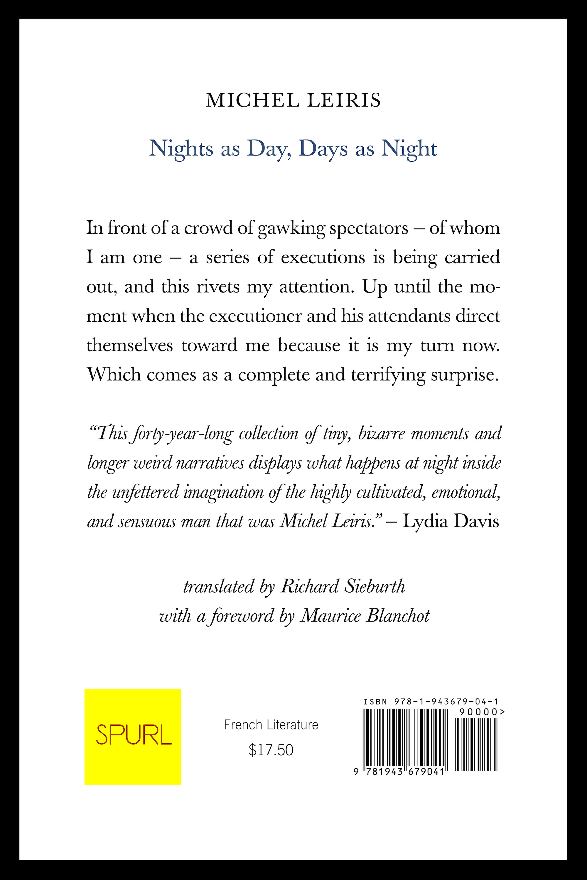 Michel Leiris Back Cover