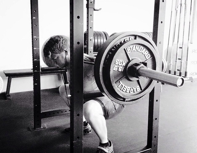 Squatting 295 for 5 sets of 3 at SF Iron. Photo credit: Martin's instagram .