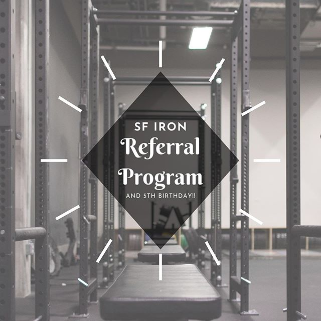 Happy almost birthday to us! ⠀⠀⠀⠀⠀⠀⠀⠀⠀ In November, SF Iron is turning 5 years old. As a thank you to our community, from now until the end of November we're offering a discount for any current members and their friends! ⠀⠀⠀⠀⠀⠀⠀⠀⠀ The way it works is pretty simple. If you're a current client, each new member you refer will receive $50 off of their introductory package and for each referral that completes their introductory package, you will receive $50 off of your next month at SF Iron. ⠀⠀⠀⠀⠀⠀⠀⠀⠀ There are no limits to how many people you can refer, but we do have limited spaces available to train. Link in our bio for more information on what your friends can expect training with us 😊 ⠀⠀⠀⠀⠀⠀⠀⠀⠀ If you have any questions, feel free to drop us a DM!