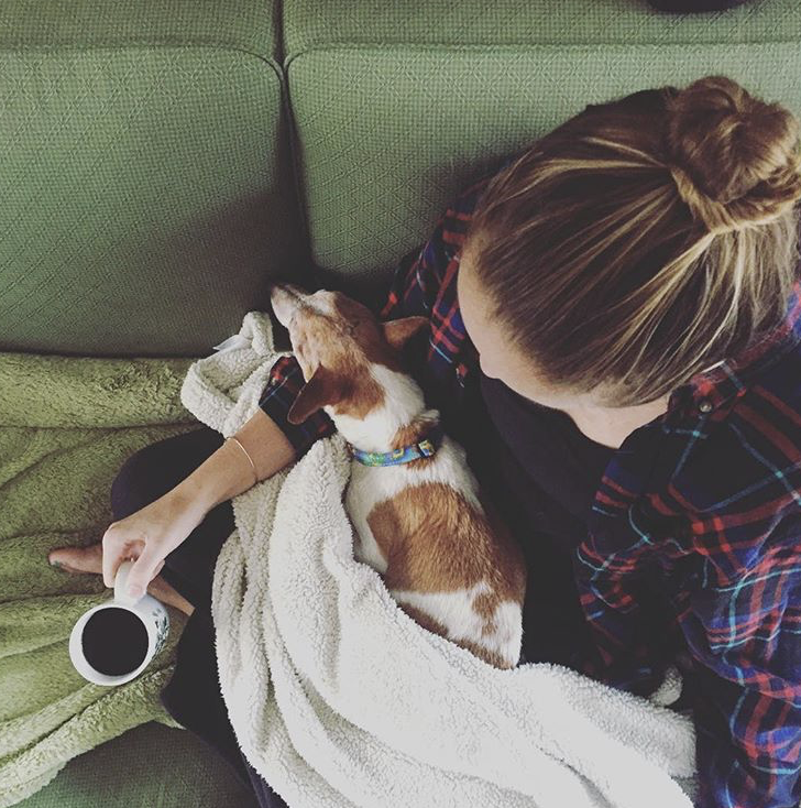 "Dogs, coffee, and a cozy blanket — for my  "" process "" obviously"