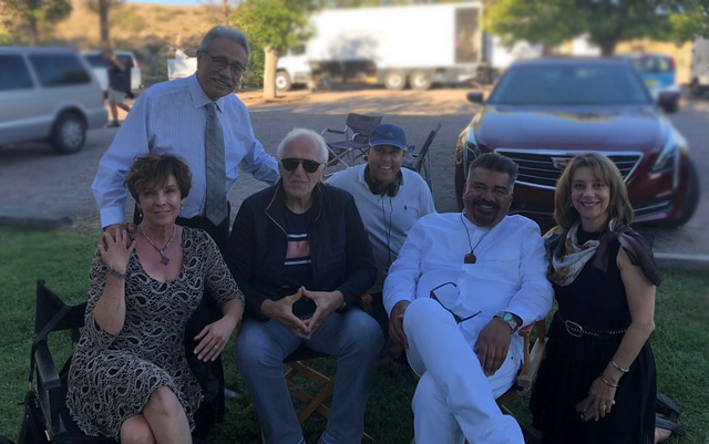 Standing is Edward James Olmos.  Seated left to right is:  Kathleen Quinlan, Spencer, Director Ross Marks, George Lopez and Jackelyn Viera Iloff