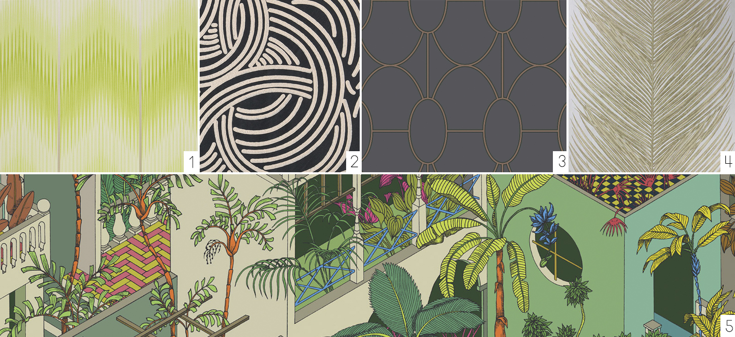 Source (left to right):  Osborne & Little, Cubana Papers Danzon ;  Farrow & Ball, Tourbillon;   Cole & Son, Geometric II Riviera ;  Osborne & Little Rosslyn Papers May Fern;  and bottom row,  Cole & Sons, Geometric II Miami.