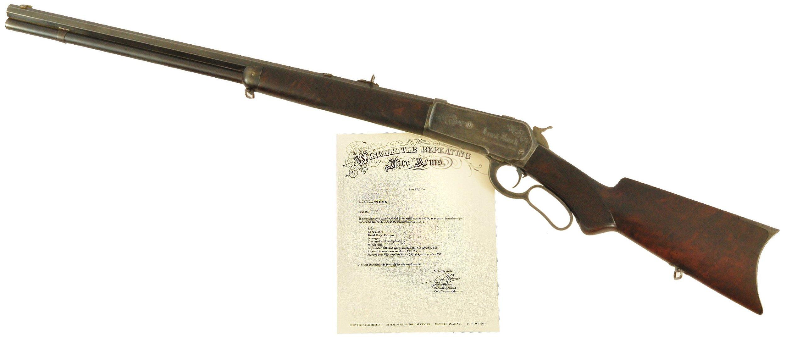 Winchester 1886 Deluxe Rifle Buckhorn Saloon Texas    Sold $24,000