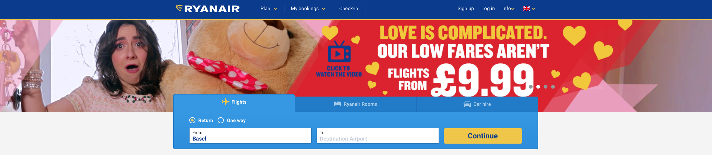 "Ryanair Valentine promotion ""Love is complicated, our low fares aren't"