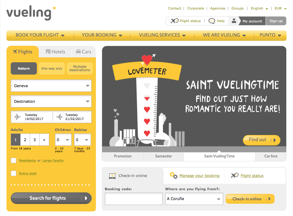 Vueling Lovemeter - Saint Vueling Time to find out how romantic you really are
