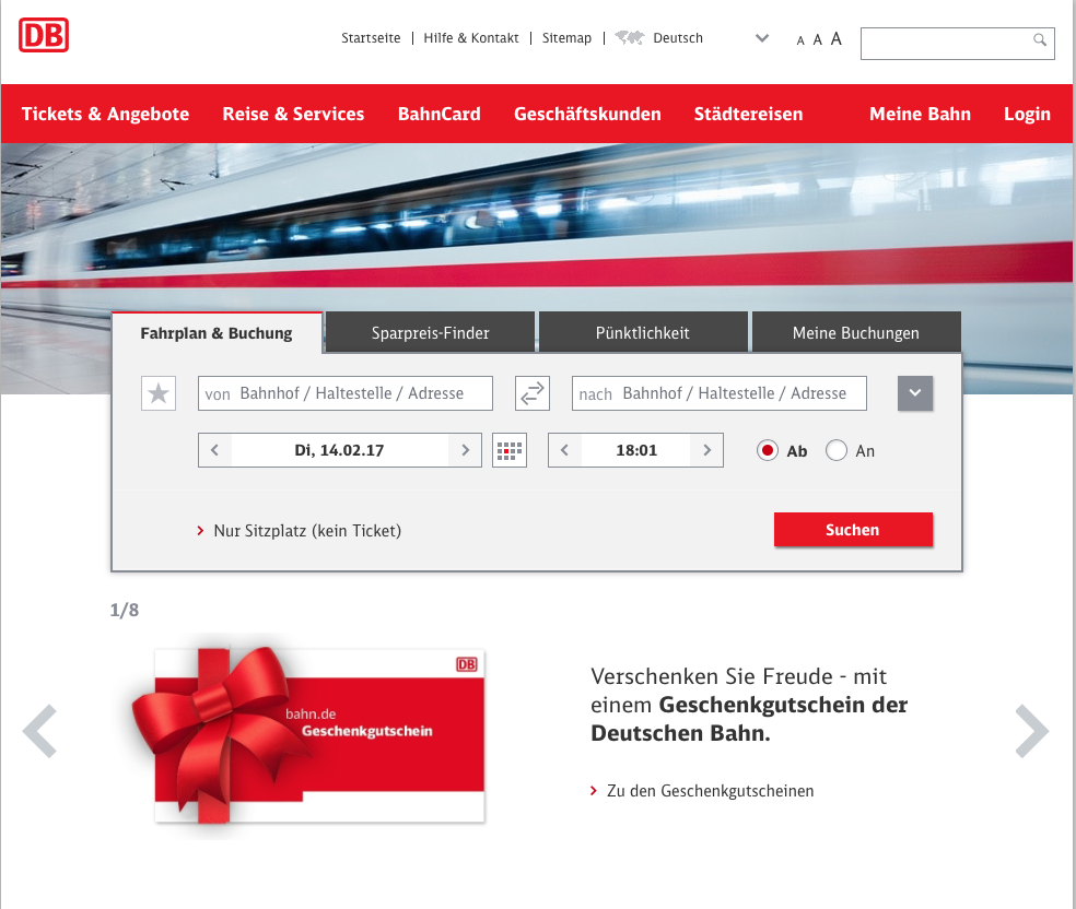 Deutsche Bahn - give away joy with a gift voucher from Deutsche Bahn