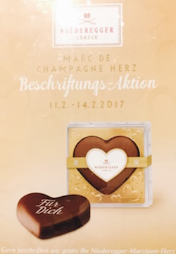Niederegger Marzipan offer a personalised text on their marzipan hearts during the Valentine's period