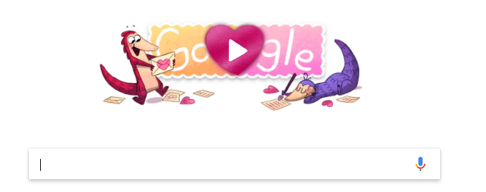 Google's famous Doodle has of course been adapted to reflect Valentine's