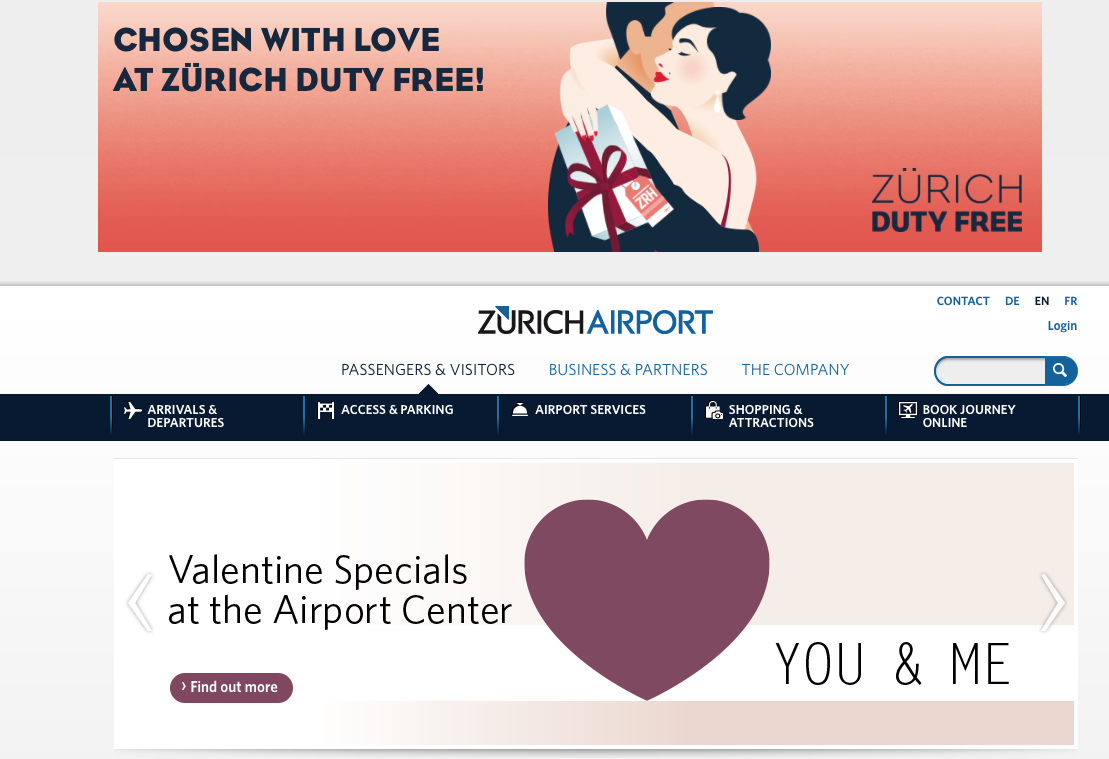 Zurich Airport Valentine's offers at the Airport Center