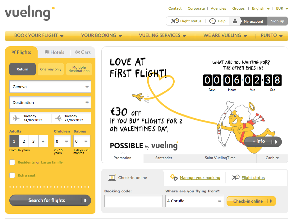 "Vueling ""Love at First Flight"" promotion on their website"