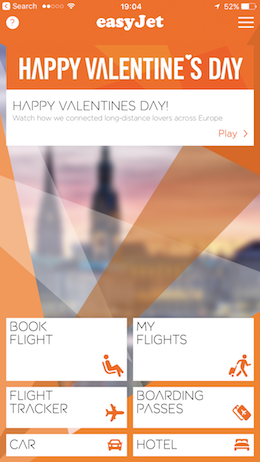 EasyJet Mobile Happy Valentine's Day