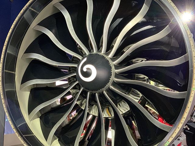 The world's biggest #aircraft engine - beautiful. Revolutionary. Huge! #innovation #GE #travel #airline #aviation #ParisAirShow2019