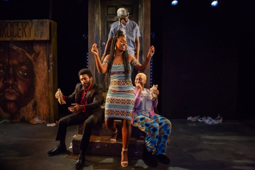 Roland Lane, Alana Raquel Bowers, Michael Oloyede, and Tanyamaria in SCRAPS at The Flea Theater, photo by Hunter Canning