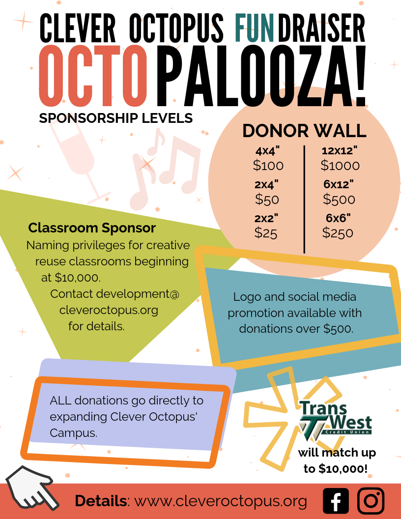 "Clever Octopus FUNdraiser: OctoPalooza! Sponsorship Levels Donor Wall: 12x12""=$1000 