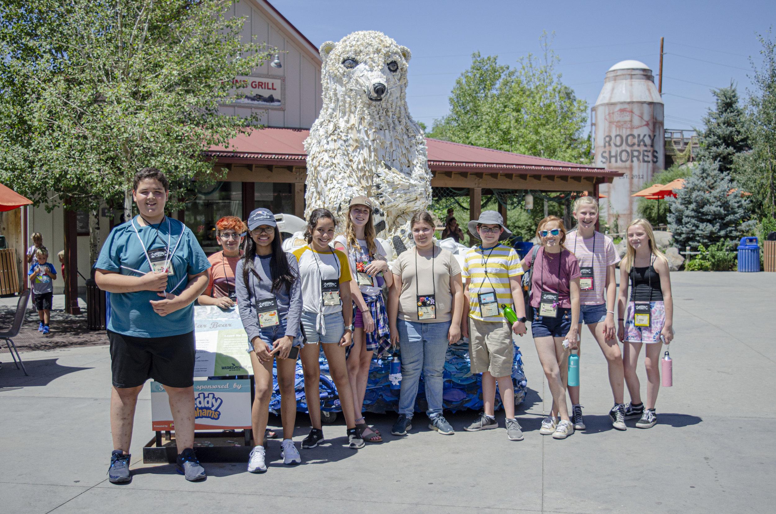 """Hogle Zoo """"Washed Ashore"""" exhibit with the Rattlesnake group."""