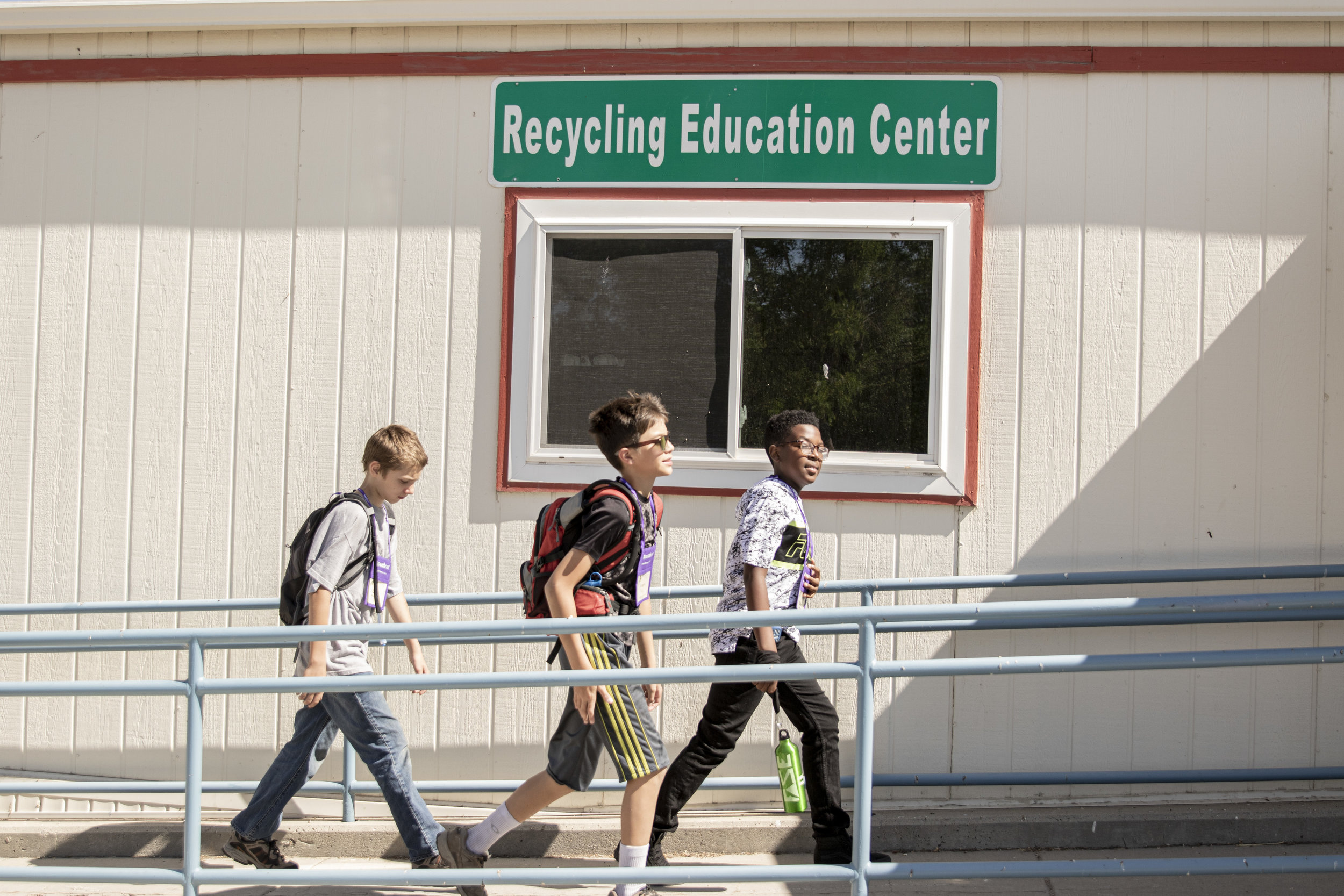 Students walking into the Recycling Education Center at the Salt Lake County Landfill.
