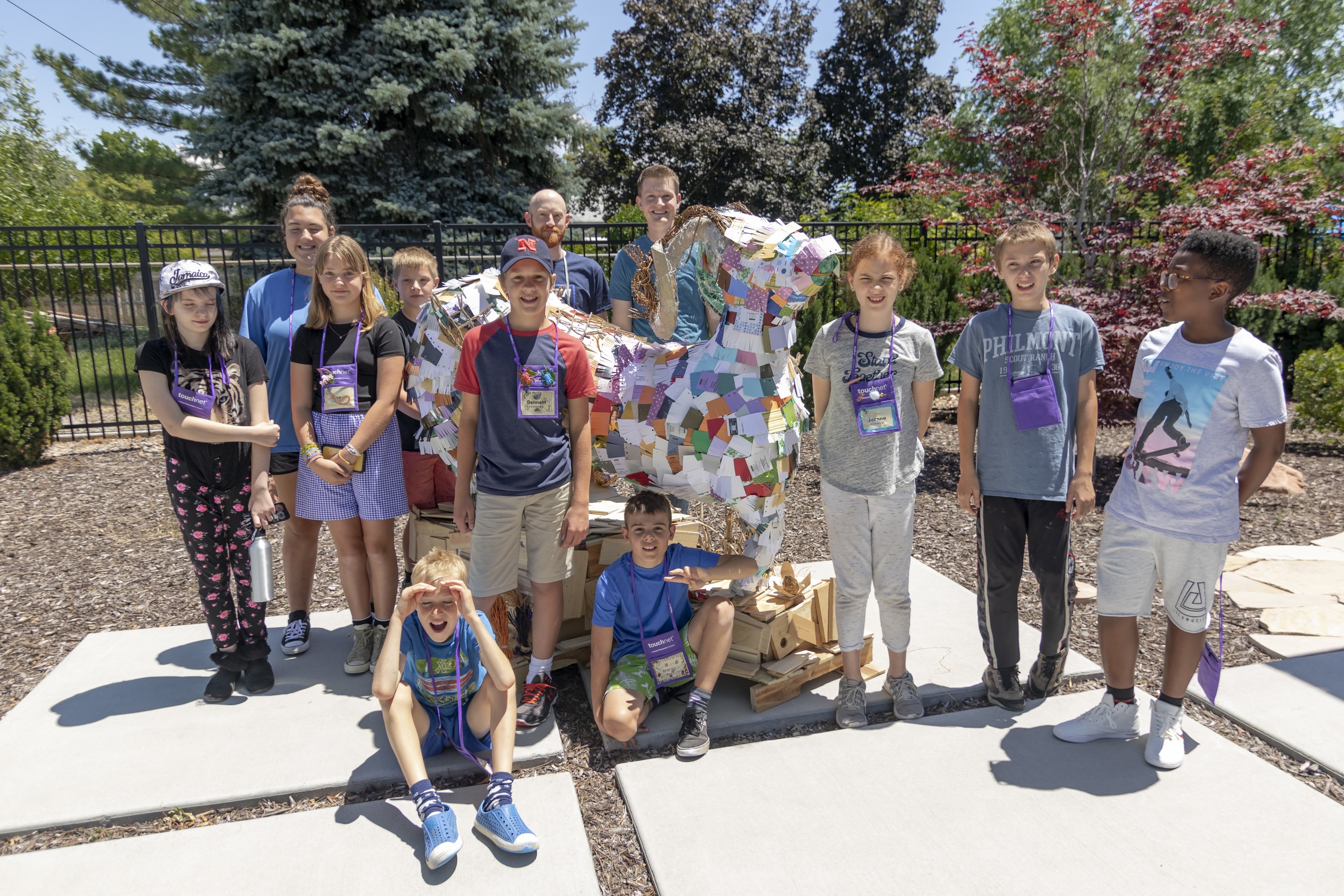 Big horn sheep made out of paper waste. Group led by Clever Octopus instructor - Zach H.