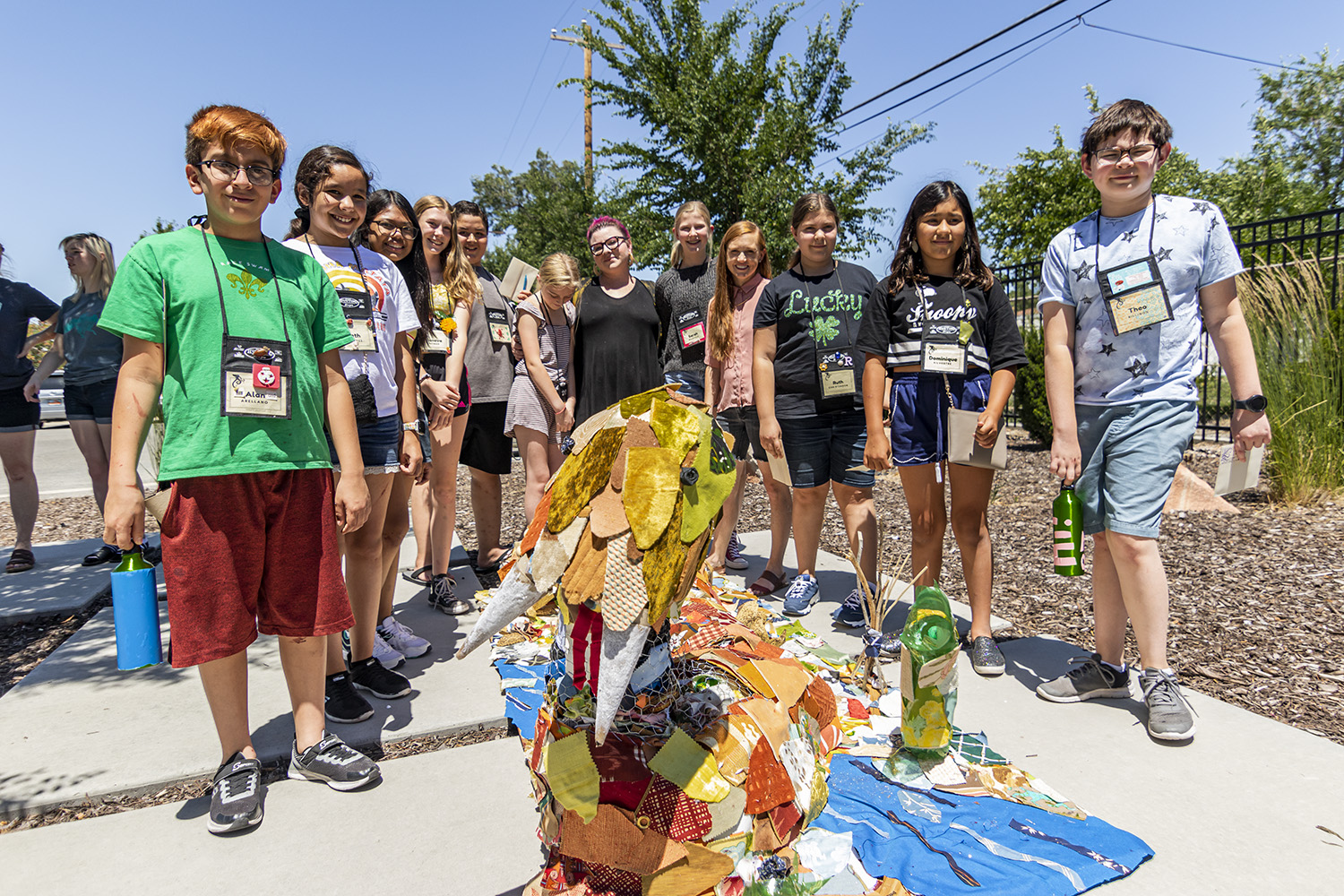 Rattlesnake group made out of textile waste. Group led by Clever Octopus instructor - Amanda L.