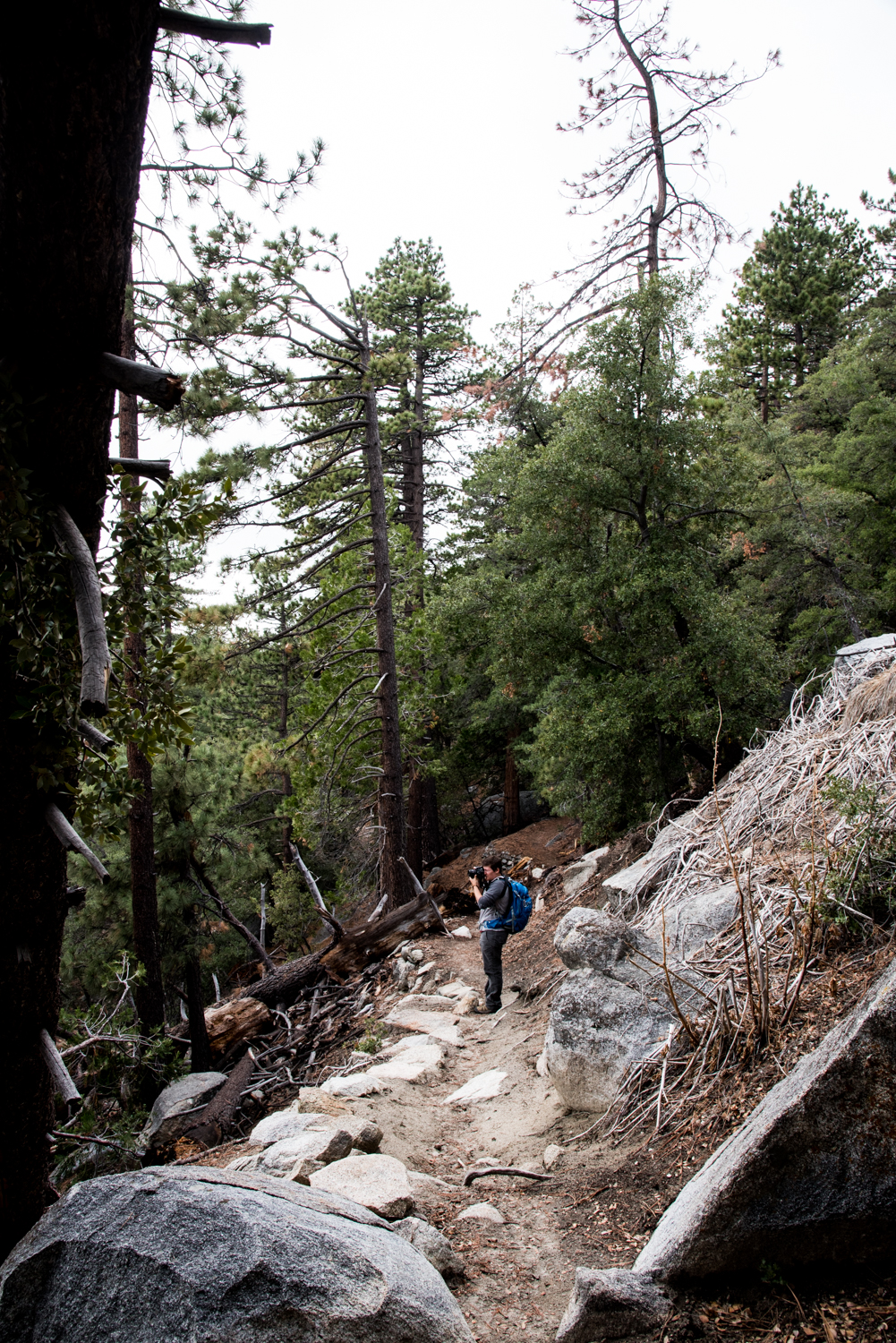 The trail is at times rocky with a steep drop off on one side