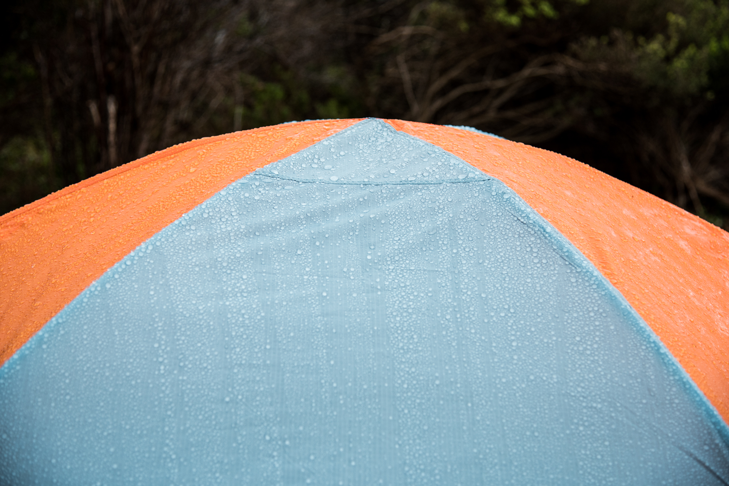 During lots of rain, the tent stayed dry - on the inside!