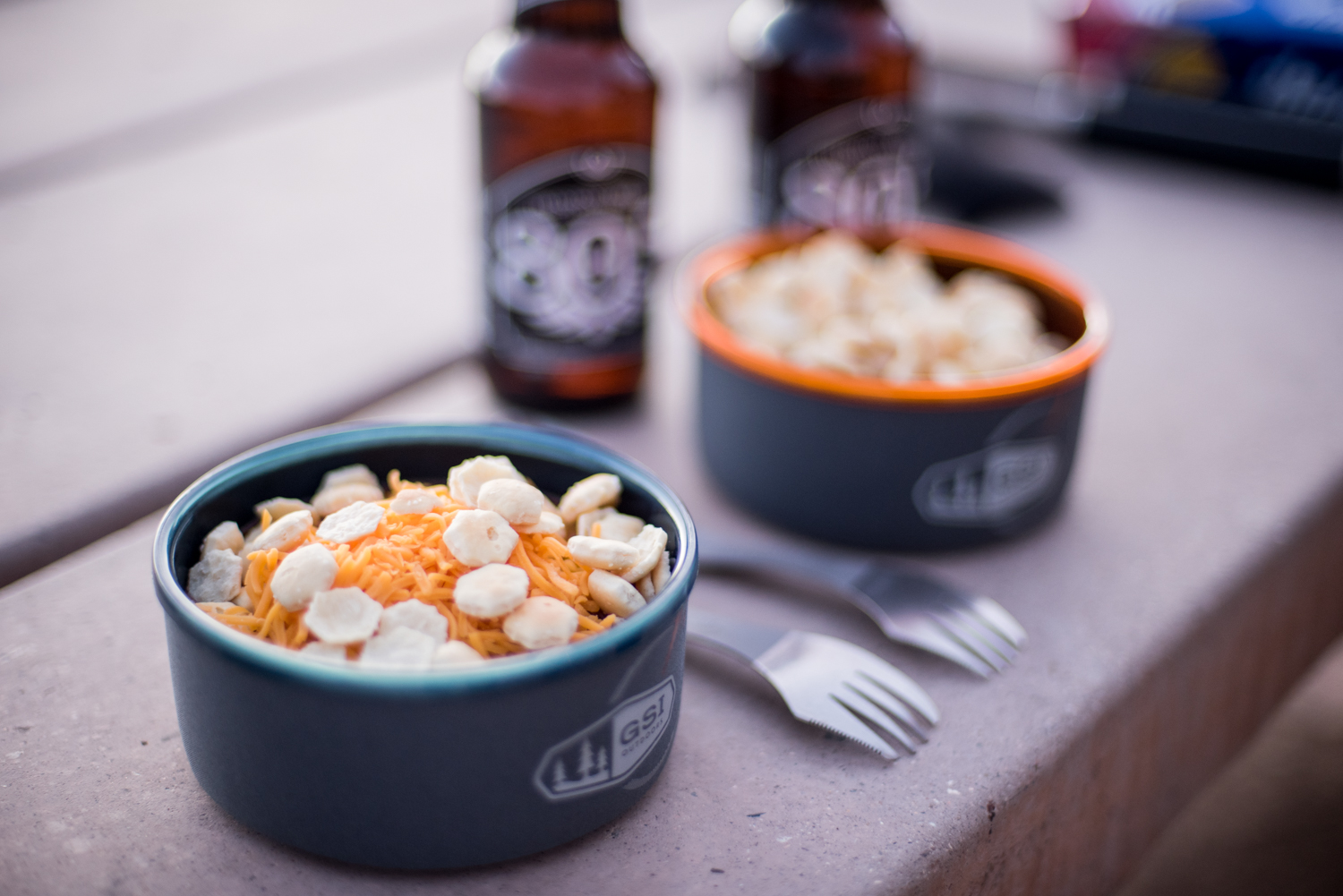 Loaded chili and beer. And our titanium sporks, not from GSI.