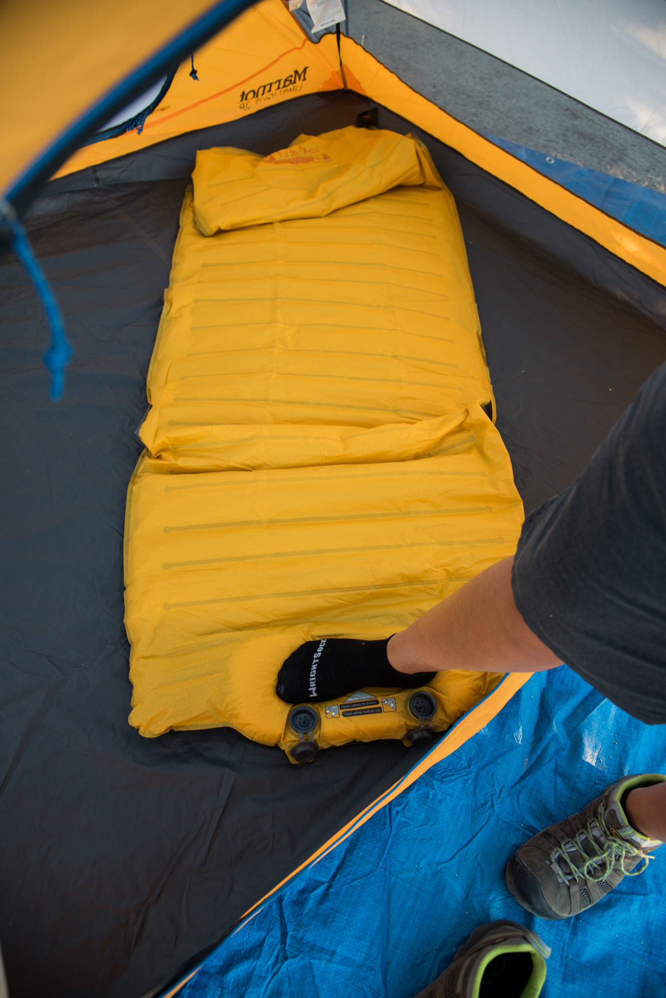Inflating - take off your boots, eww!