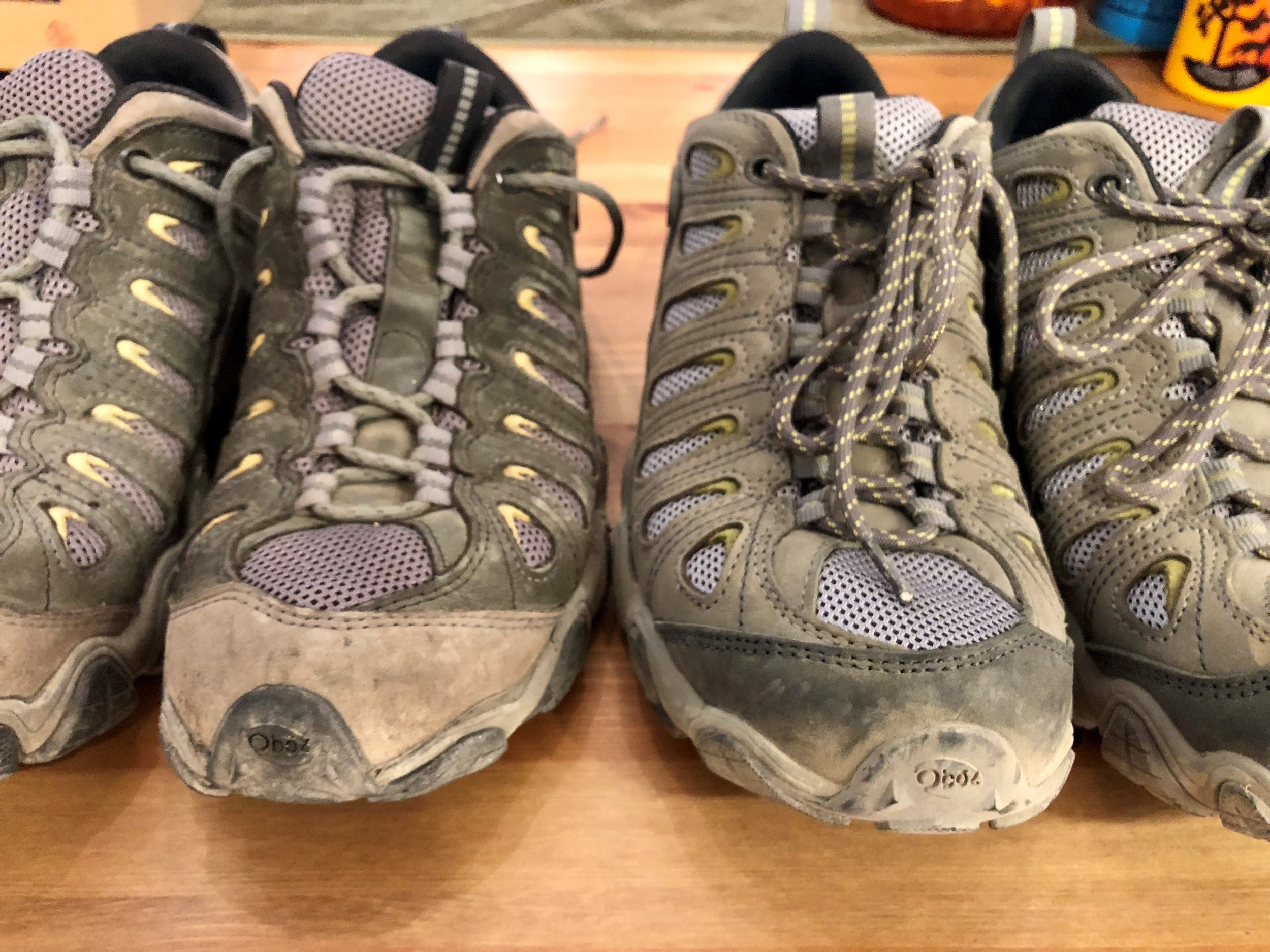 Old boots on the left, New on the right!  I didn't waste time getting the new ones dirty!