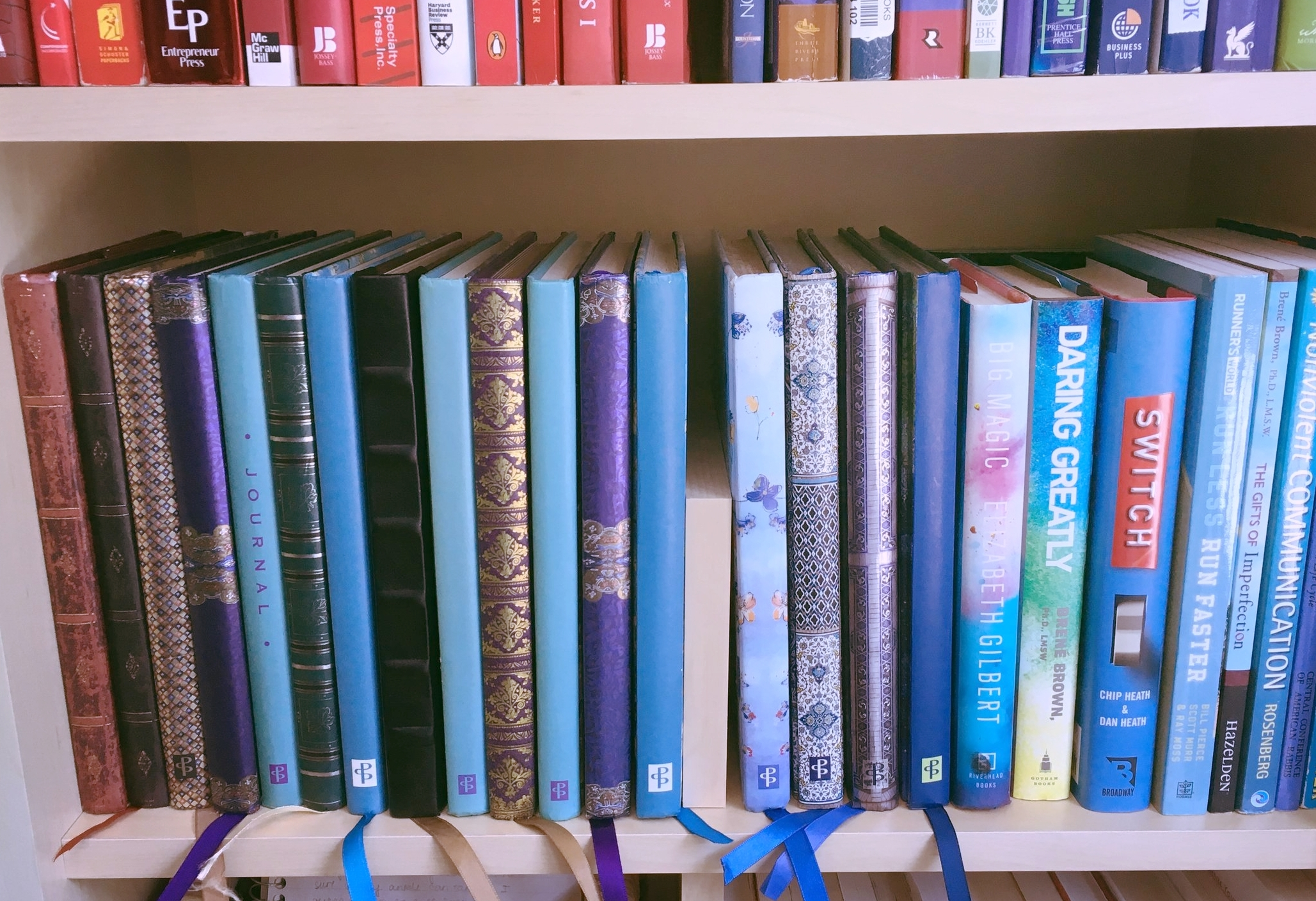 A little snapshot of some of my journals slowly overtaking the bookshelf, waiting to be shared :).