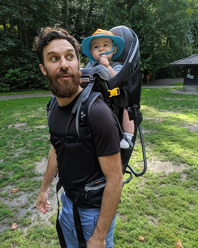 First ride in the backpack