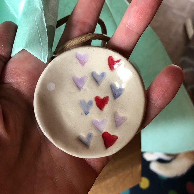 Lots of fabulous finds today at Barlow's Winter Maker Market!  Open 10-2.  Come early to find the best items.  Only a few of these heart dishes left (they have been nabbed every time I pull them out of the kiln!). Hope to see you today!