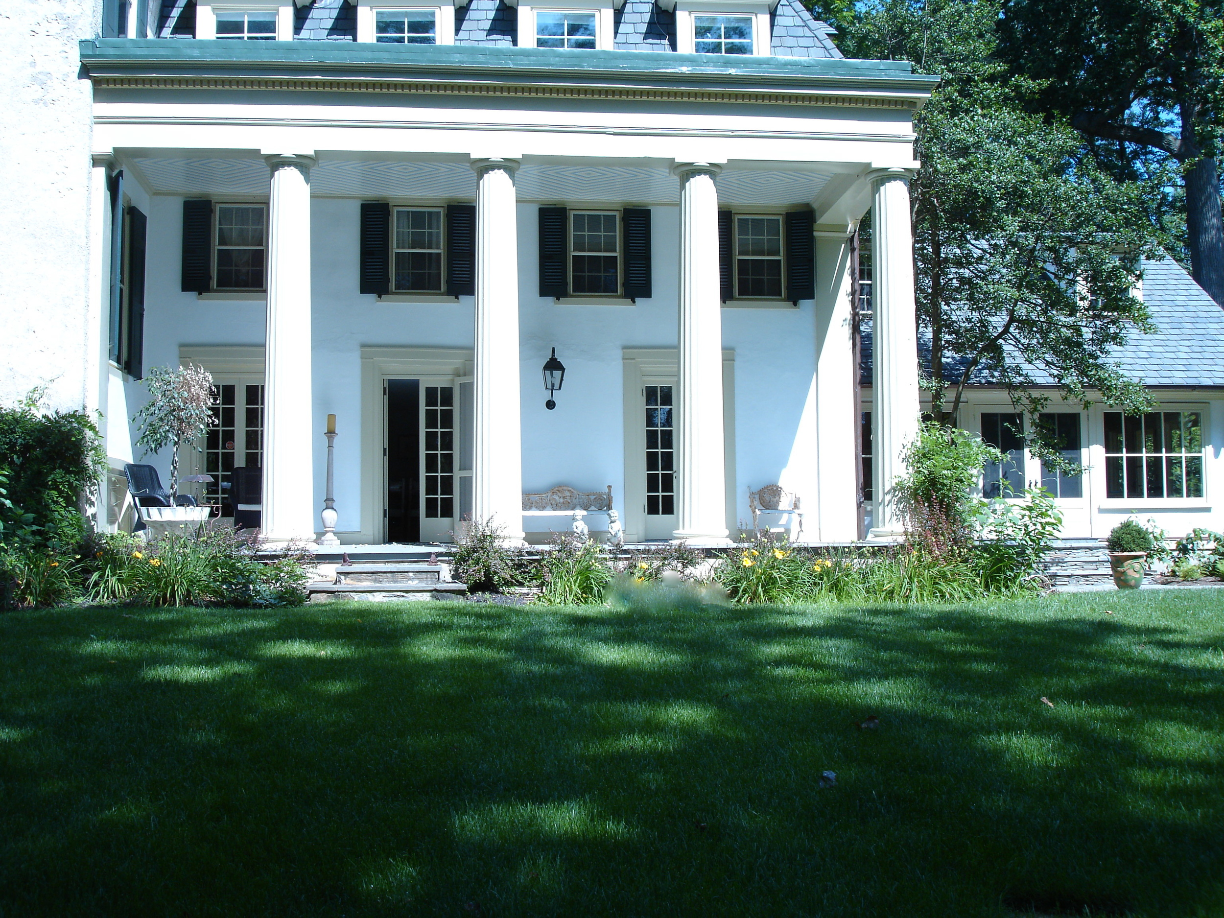 PORTICO  Exterior House paint laid out in a repeating pattern. Ardmore, PA.
