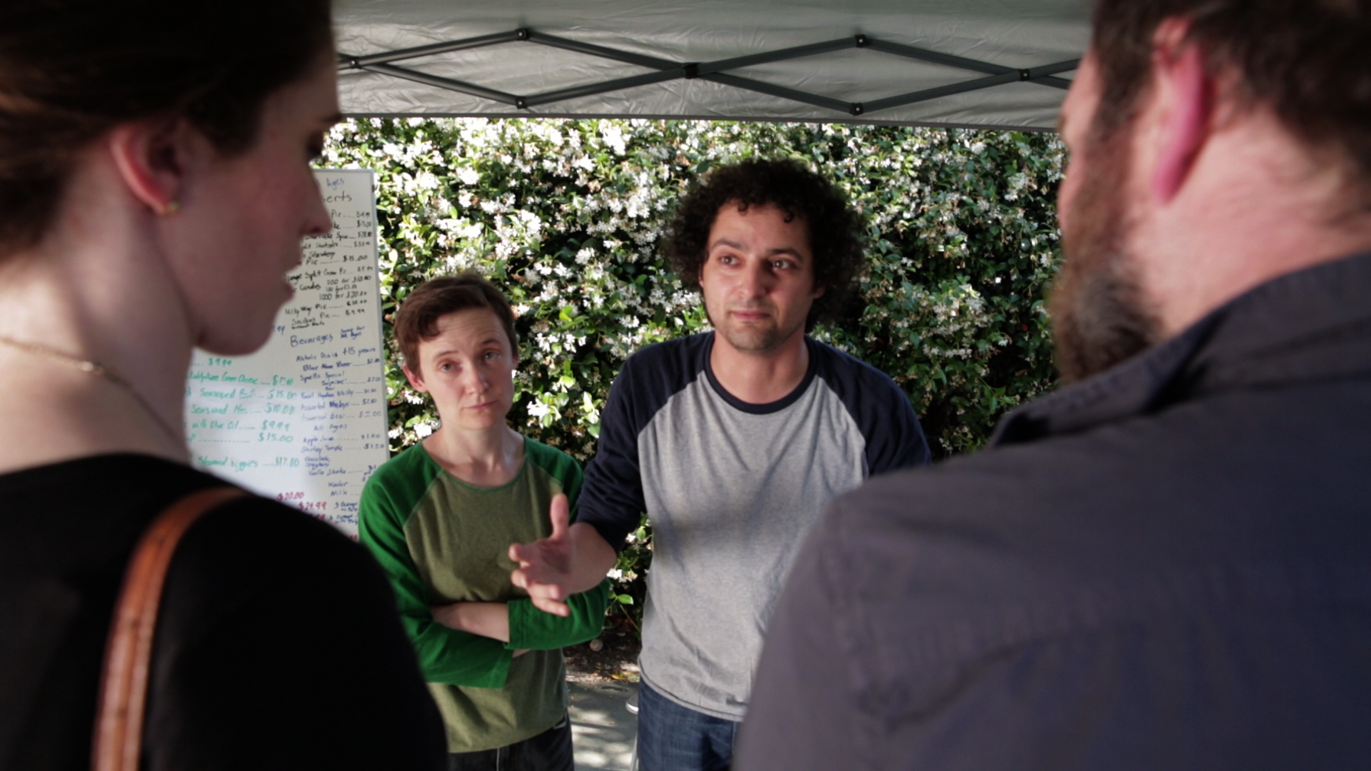 "Jeremy Guskin, Jonica Patella, John Newman, and Mercedes Manning in ""Hummus"" (Episode 1)"