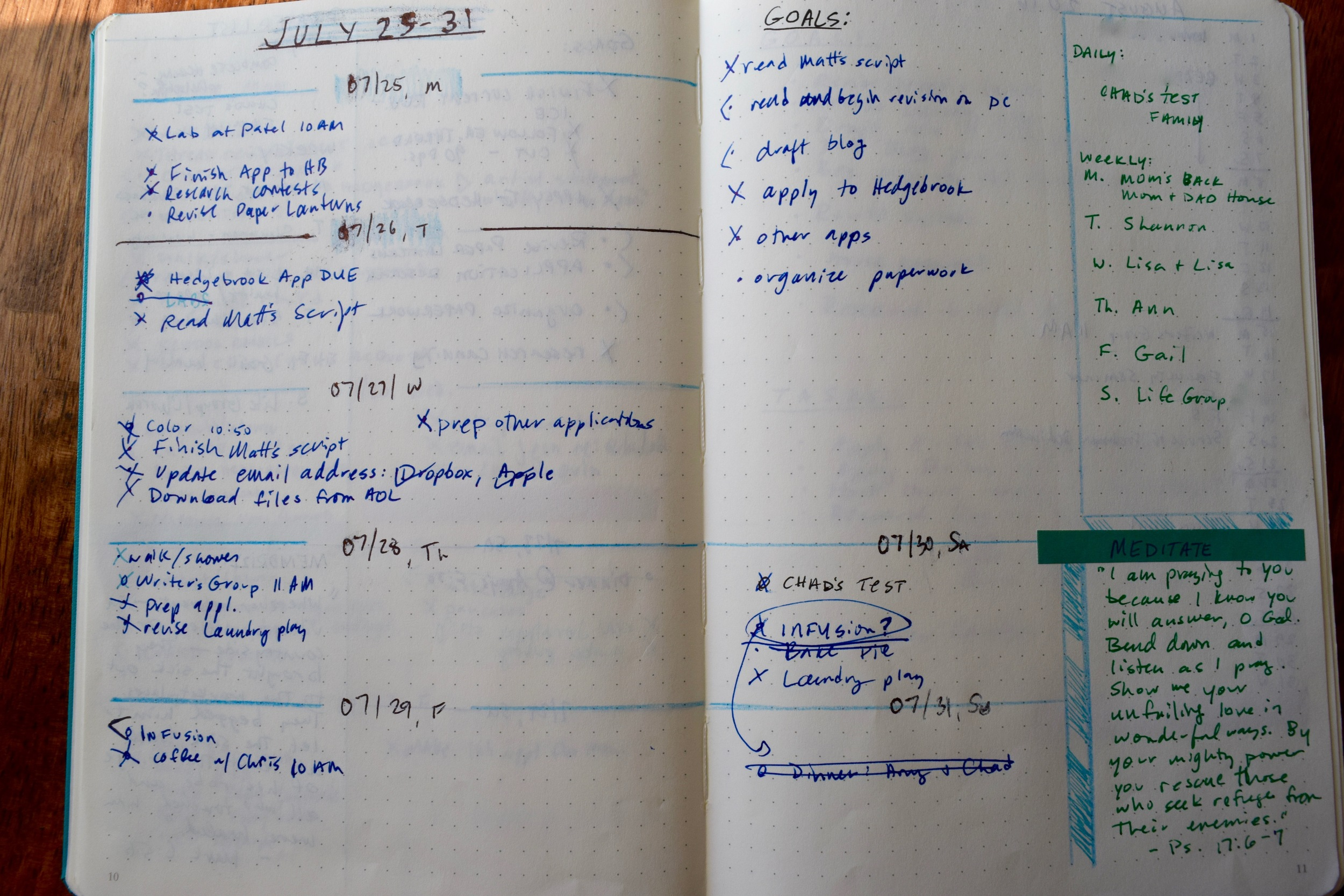Messy Filled-in Weekly Log