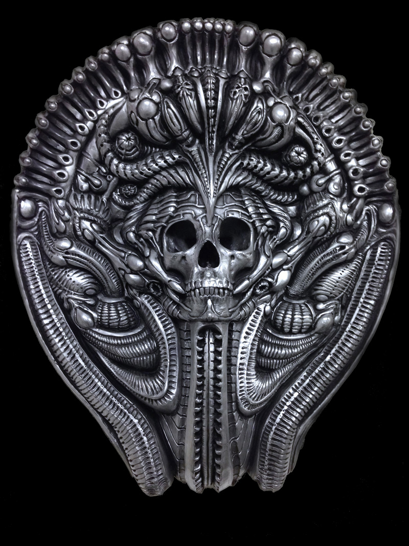 """This sculpture represents two aspects of existence. Lice and death. Above it the final death image, """"Behind the Veil"""". It was a very long process to get here though. See below to see my journey."""