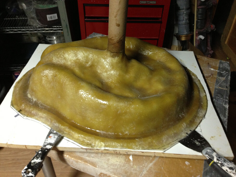 About to remove the fiberglass jacket from the case mold, clean it up and pour the silicone.