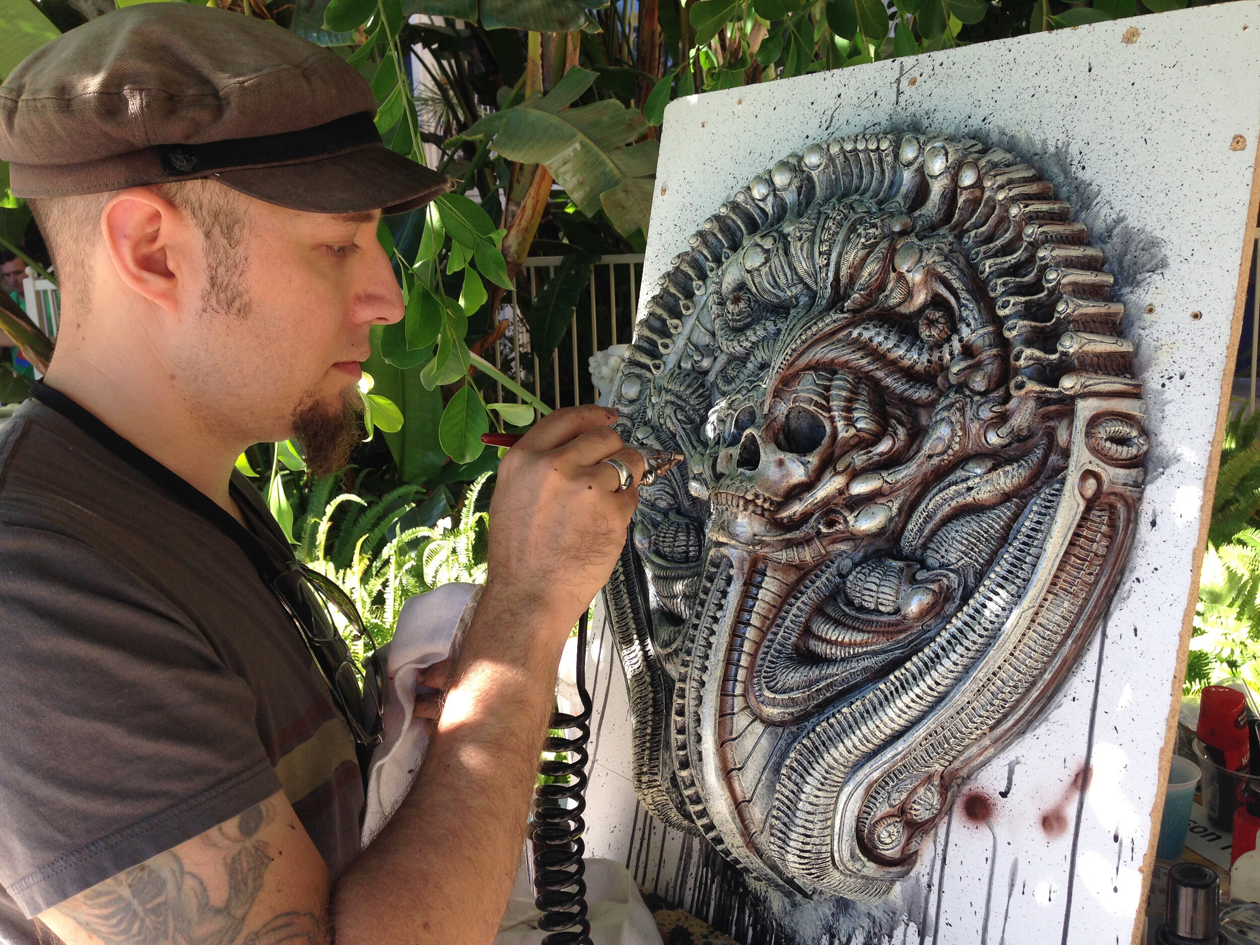 After going through another mold here I am painting one as a live demo at a comic convention in San Diego. This particular piece ended up as a base for Cris Velasco's Shiva (Madonna) sculpture. A bronze version of this piece (the very first image of this thread), hung in the Copro Gallery's Conjoined, curated by Chet Zar in 2013 and was also featured in Juxtapose Magazine for promoting that gallery show.