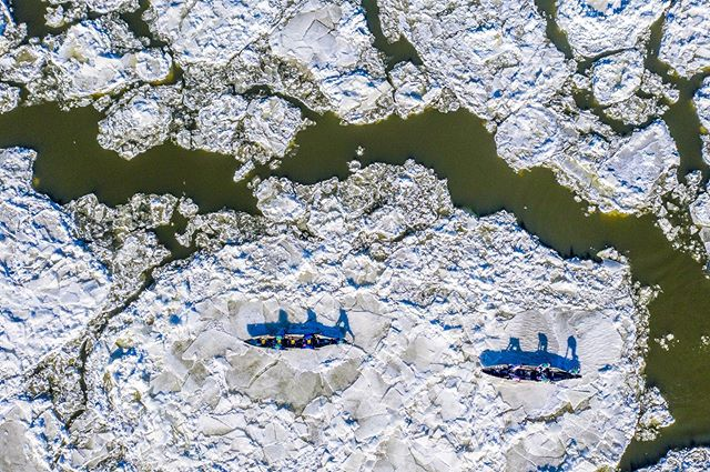 Crews race down the Saint Lawrence River, running their canoes across frozen blocks of ice and paddling to traverse the watery gaps in between.