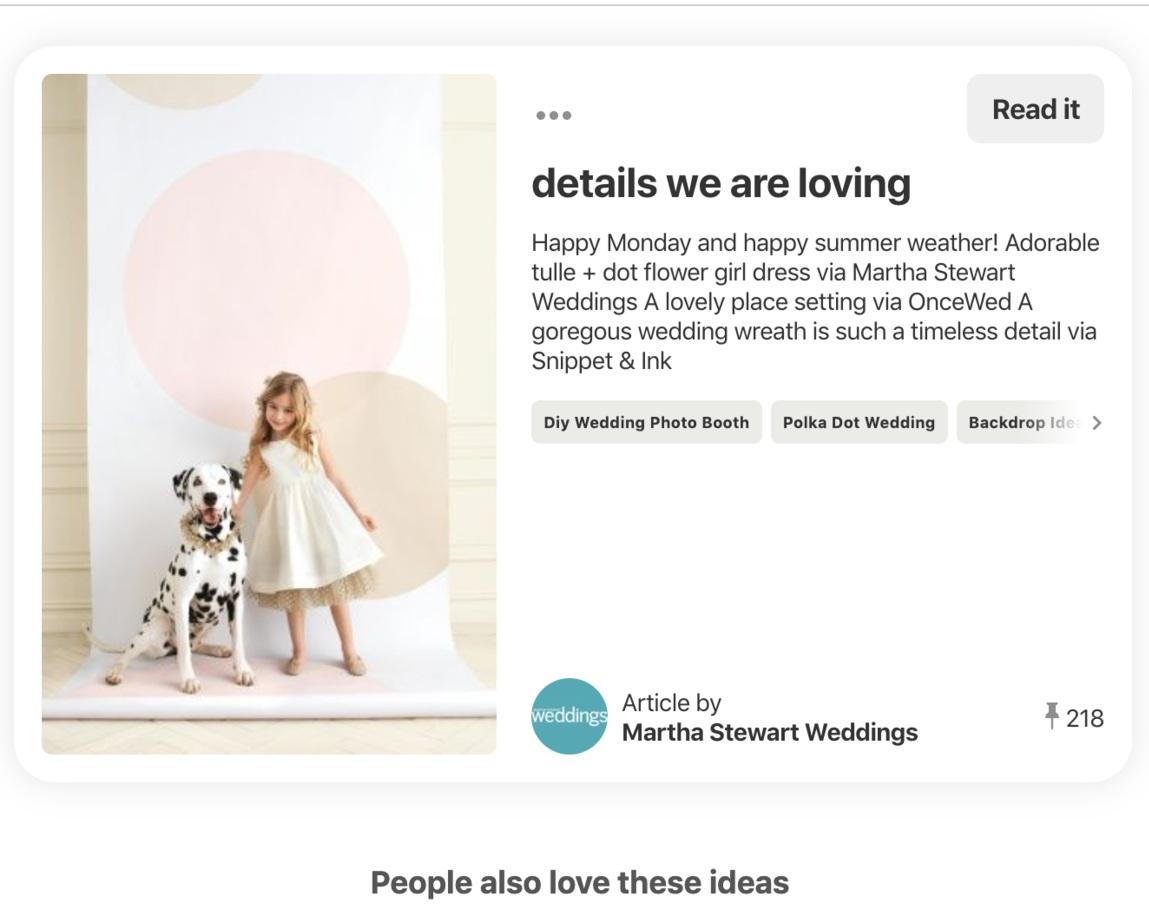 Martha Stewart Weddings Pinterest Post of Pickawall. Wedding industry best marketing and social media agency.