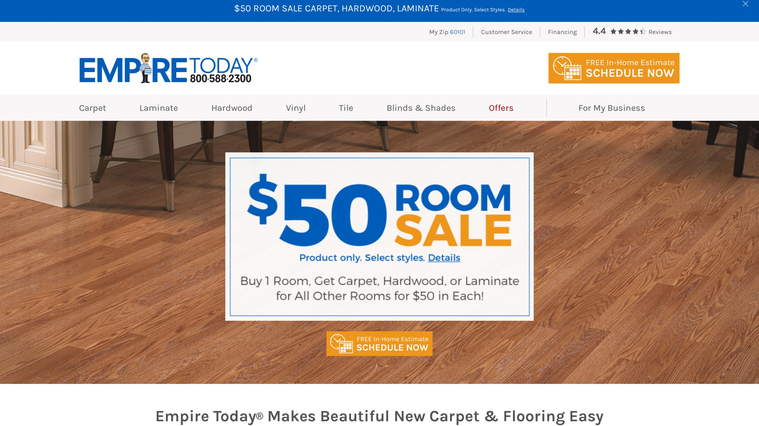 Web development and creative content creation for the home decor, home services and DIY industries. Empire Today website design and development of copy. https://www.empiretoday.com/?ver=c