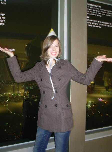 with my 100th day party hat at N Seoul Tower