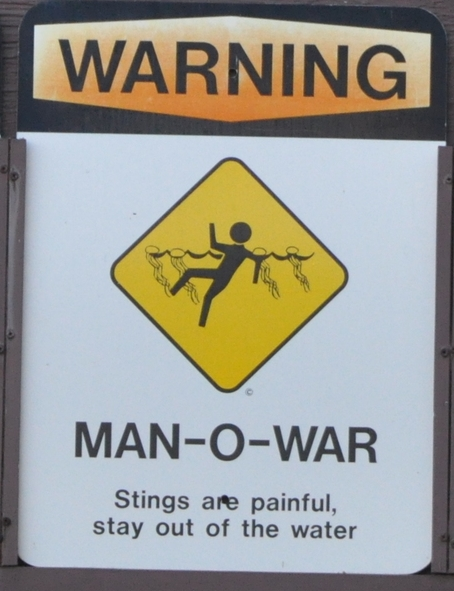 """Warning: Man-o-War"" sign at Hanauma Bay"