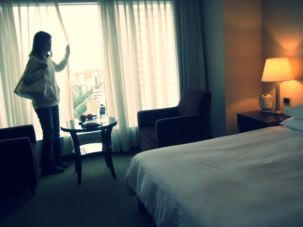 Checking out a hotel room