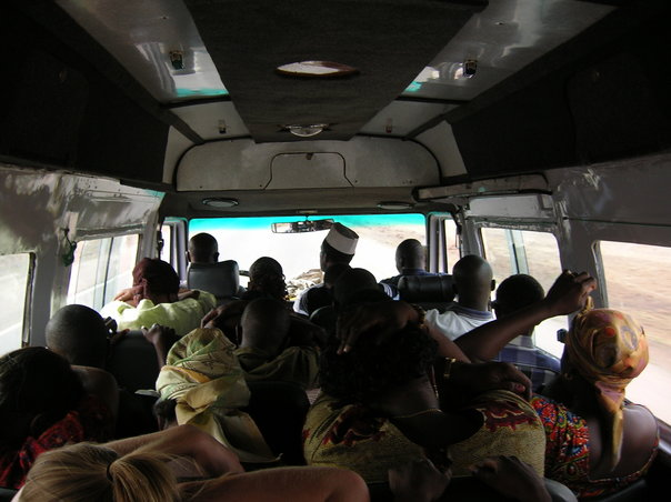 Travelling like a local tip #3: Use local transit. This is a crowded  trotro  (small bus) in Ghana.
