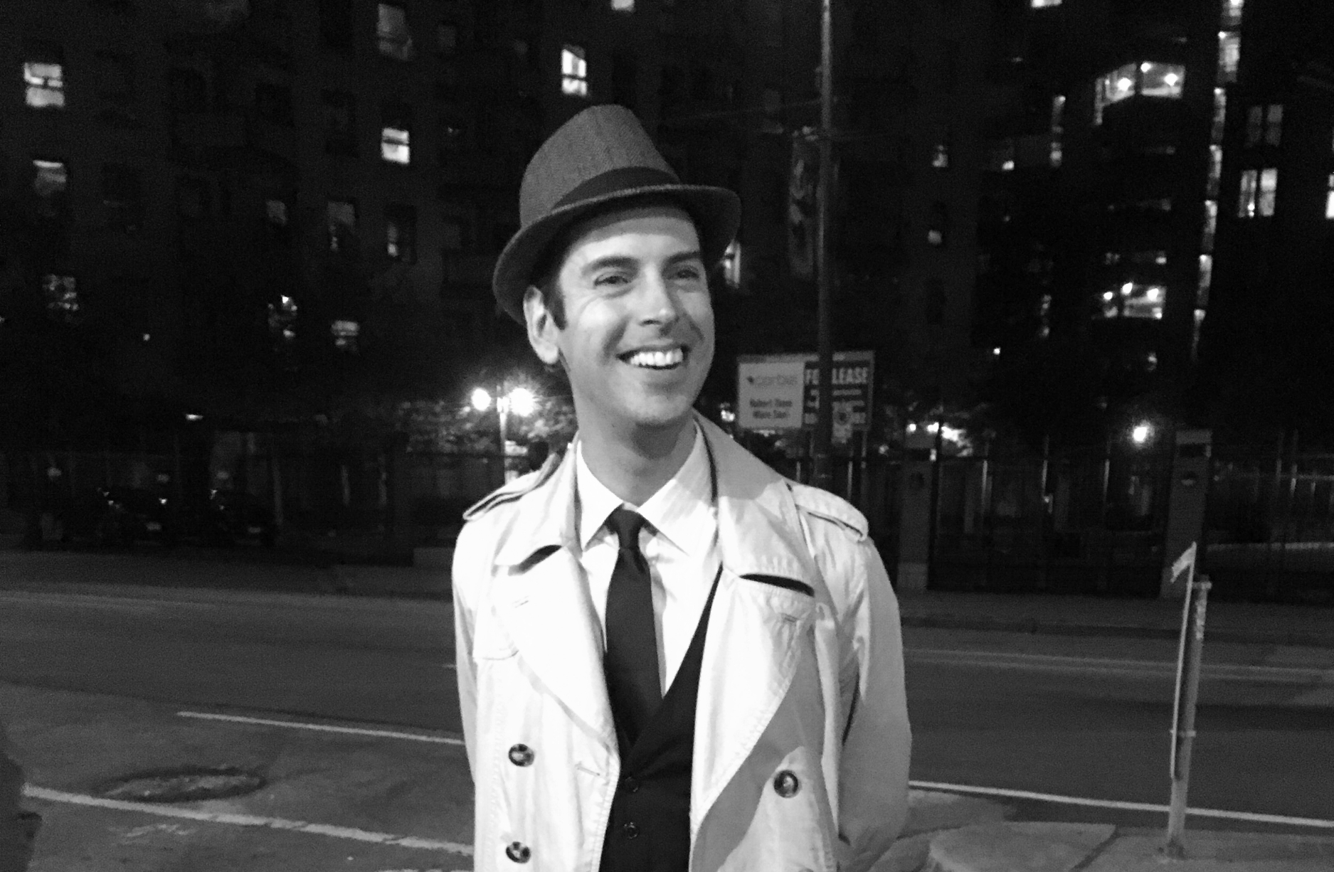 Will Woods, of Forbidden Vancouver's walking tours, guiding our group through downtown Vancouver and a gloomy era of Vancouver's past: Prohibition.