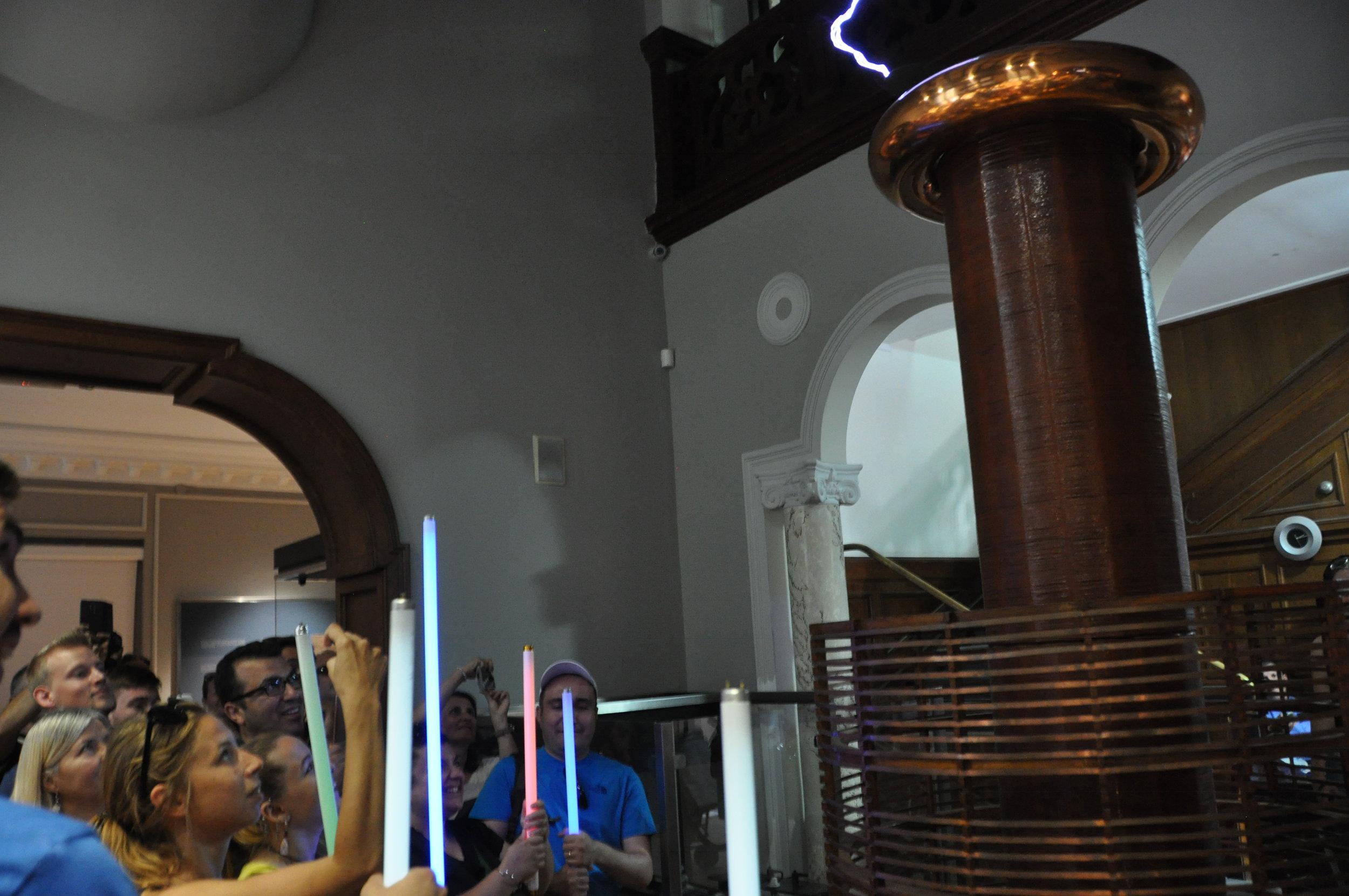 Experimenting with Tesla's coils at the Nikola Tesla Museum, Belgrade
