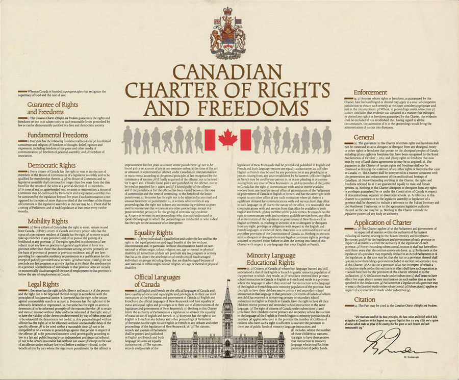 Canada's Charter of Rights and Freedoms, enjoyed by all Canadian citizens