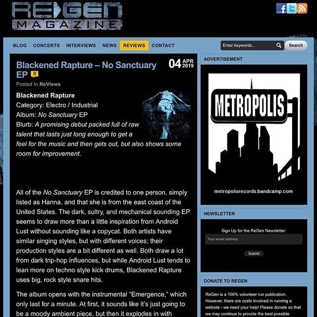 Thank you ReGen 🌊🌑🎶. http://regenmag.com/reviews/blackened-rapture-no-sanctuary-ep/  #regenmagazine #blackenedrapture #electronicmusic #industrialmusic #darkartists #darkart